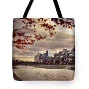 Pathway Along Kamo River In A Beautiful Dramatic Autumn Sunset S Tote Bag