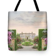 Pathway Leading To A Mansion Through Beautiful Gardens Tote Bag