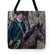 Patriot On Horse At Tower Park Battle Tote Bag