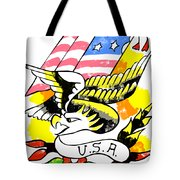 Patriotic Eagle Tattoo Tote Bag