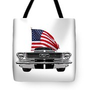 Patriotic Mustang On White Tote Bag
