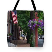 Patriotic Street In Philadelphia Tote Bag