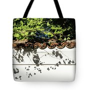Patterned Sunshine - Ginkgo Shadows On A White Stucco Wall Tote Bag