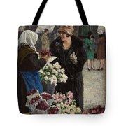 Paul Fischer, 1860-1934, Flower Market In Copenhagen Tote Bag
