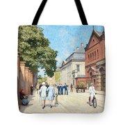 Paul Fischer, Sunny Street Scene, Bredgade, Copenhagen. Tote Bag