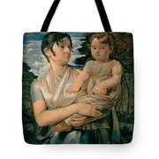 Pauline Runge With Her Two Year Old Son Tote Bag