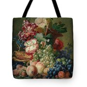 Paulus Theodorus Van Brussel - Still Life Of Flowers And Fruit On A Stone Ledge, Tote Bag