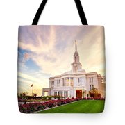 Payson Utah Temple Dramatic View Tote Bag