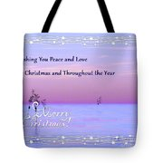 Peace And Love For Christmas Card Tote Bag