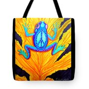 Peace Frog On Fall Leaf Tote Bag