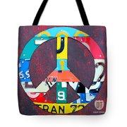 Peace License Plate Art Tote Bag