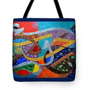 Peace Love And Hope Arabic Inspirational Calligraphy Tote Bag by Riad Belhimer