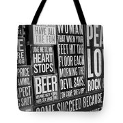 Peace, Love And Rock N Roll Tote Bag