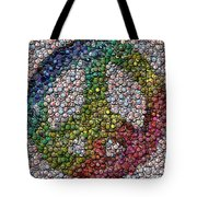Peace Sign Bottle Cap Mosaic Tote Bag