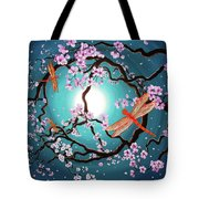 Peace Tree With Orange Dragonflies Tote Bag