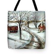 Peaceful Christmas Farm Tote Bag