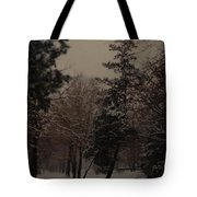 Peaceful Snow Dusk Tote Bag