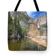 Peaceful Winter River Through Yosemite Valley Tote Bag