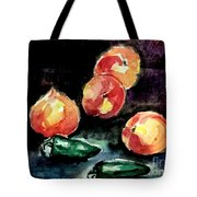 Peach And Peppers Tote Bag