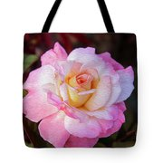 Peach And White Rose Tote Bag