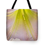 Peach Angel's Trumpet Inside At Pilgrim Place In Claremont-california Tote Bag
