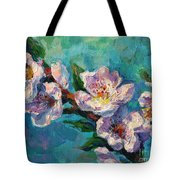 Peach Blossoms Flowers Painting Tote Bag
