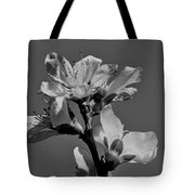 Peach Blossoms In Grayscale Tote Bag