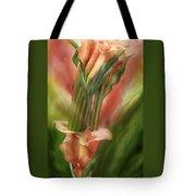 Peach Calla Lilies In Calla Vase Tote Bag