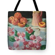 Peaches On Floral Tablecloth Tote Bag