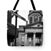 Peachtree And Central In Black And White Tote Bag