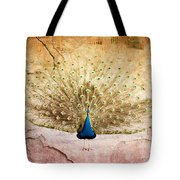 Peacock Bird Textured Background Tote Bag