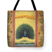 Peacock Dancing Painting Flower Bird Tree Forest Indian Miniature Painting Watercolor Artwork Tote Bag