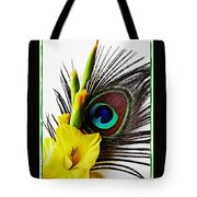 Peacock Feather And Gladiola 3 Tote Bag
