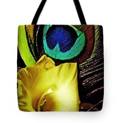 Peacock Feather And Gladiola Tote Bag