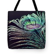 Peacock Feather With Dark Background Tote Bag