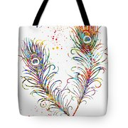 Peacock Feathers-colorful Tote Bag