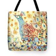 Peacock Hiding In My Poppy Garden Tote Bag by Jennifer Lommers