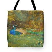 Peacock In A Garden Tote Bag