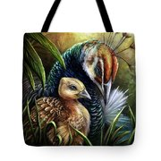 Peahen And Chick Tote Bag