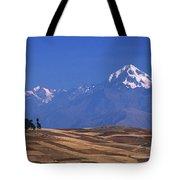 Peaks And Fields Near Cusco Peru Tote Bag