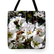 Pear Blossoms And Bee Tote Bag