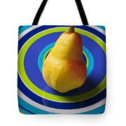 Pear On Plate With Circles Tote Bag