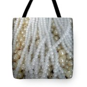 Pearl Beads - White And Beige Tote Bag