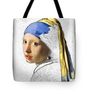 Pearl Earring Digital Art Tote Bag