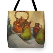 Pears With Copper Kettle Tote Bag