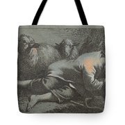 Peasant Boy Asleep Near Two Sheep Tote Bag