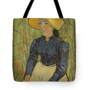 Peasant Girl In Straw Hat Tote Bag