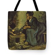 Peasant Woman Cooking By A Fireplace Tote Bag