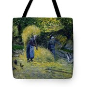 Peasants Carrying Straw Montfoucault 1875 Camille Pissarro Tote Bag