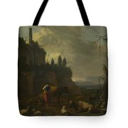 Peasants With Cattle By A Ruin Tote Bag